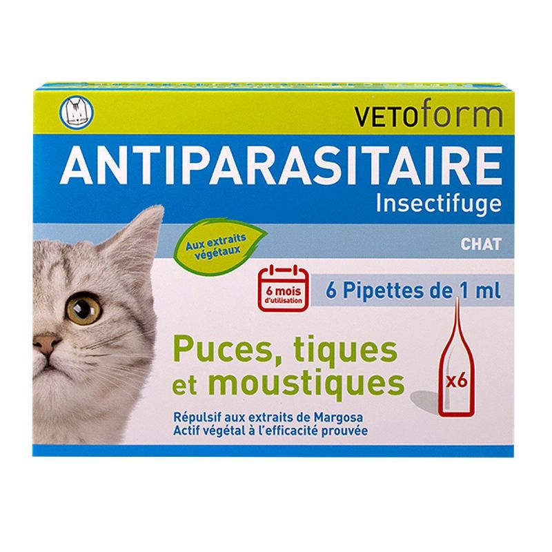 Antiparasitaire insectifuge chat 6x1ml
