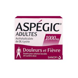 Aspégic 1000 mg adulte 20 sachets