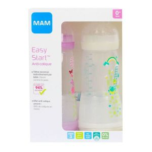 2 Biberons Easy Start anti-colique 4+ mois rose & blanc 320ml