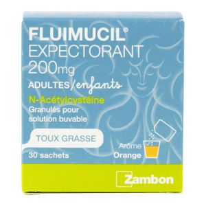 Fluimucil expectorant 200mg adultes & enfants 30 sachets